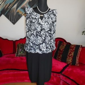 PERCEPTIONS WOMAN NEW BLACK/WHITE LACE DRESS
